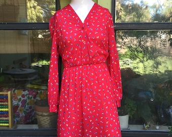 1970s Sears The Fashion Place red Floral dress