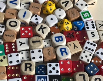 20 Random dice, various colors, various ages, letter dice, craft supply