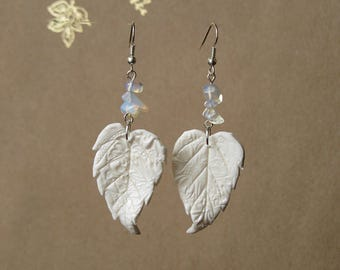 White dangle earrings Fairy wedding earrings White earrings Angel wing earrings White leaf earrings Opalite earrings Fairy earrings dangle
