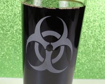 Sandblasted Biohazard Etched Glass