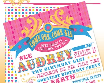 Vintage Carnival Circus Pink Printable Birthday Party Invitation - DIY Print