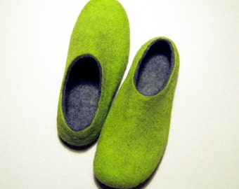 Lime Felted Slippers - Wool Shoes - Christmas in July - Minimalist Shoes - House Shoes - Womens Shoes - Rubber Soles - Mothers Day Gift