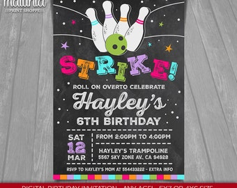Bowling Birthday Party Invitation - Girl Bowling Party Invitation - Bowling Party Printed or Printable Invitation - Strike (BWIN02)