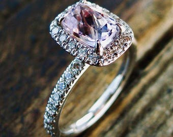 Fuchsia Kunzite Engagement Ring in 14K White Gold with Diamonds in Vintage Style Halo Setting Size 5