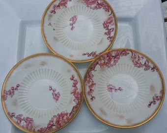 Set of  3 George  Jones & Sons peach blow saucers