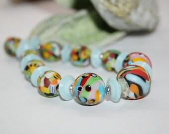 Lampwork beads, glass beads, artist beads, multicolor, handmade glass beads, java beads, ceramic beads, handmade set