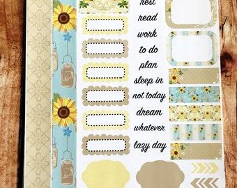SUNFLOWER Personal Weekly Sticker Kit, Planner Stickers, Sticker Kit Sized for Erin Condren Life Planner