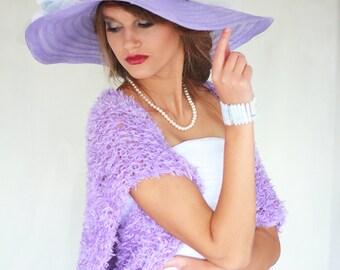 Weddings Shrug Lilac Knitted Bolero Lilac Shrug Bridal Shrug Occasional Shrug