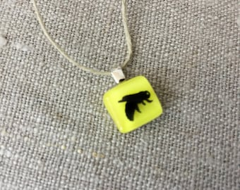 Honeybee Pendant Glass Jewelry Necklace of Fused Glass by Happy Owl - insect apiary queen bee cute kids jewelry