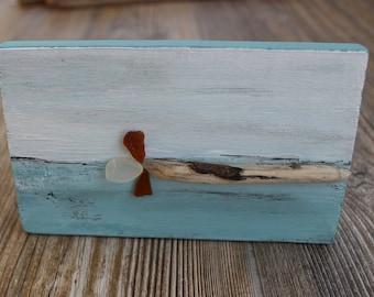 Original Ethereal Mixed Media Free standing Driftwood & Sea glass Art , Fine Coastal Artwork