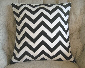 Two 26 x 26  Designer Decorative Pillow Covers  in 100%  Cotton Fabric-Black and White