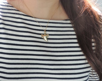 Gold Shark Tooth Necklace • Real Ancient Fossil Shark Tooth Gold Dipped Electroplated • Dainty Layering Edgy Tribal Beach Surf Girl Jewelry