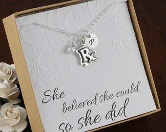 RX Pharmacist Necklace, Pharmacy technician, Prescription, Medical necklace  - Sterling Silver Initial Charm, Pearl or Birthstone