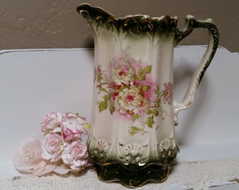 VINTAGE Hot Chocolate Pot Transfer Ware Pitcher Vase 9 Inch Hand Painted Cream Green Pink Gold Scalloped Roses Country Farmhouse Rustic Chic