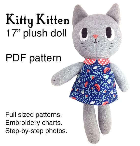 Kitty Kitten cat rag doll sewing pattern, soft toy plushie pattern ...