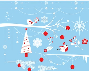 Christmas clip art - frozen branches clipart, snowflakes, tree, icicles, ice, glitter, sparkling, Christmas tree, ornaments, snow, birds