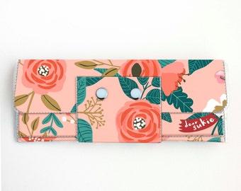 Handmade Vinyl Long Wallet - Botanical Pink / vegan, large wallet, clutch, zipper, card case, vinyl wallet, snap wallet, flowers, gift, pink