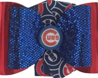 Chicago Cubs Hair bow, Cubs bow, Cubbies bow, Chicago bow, Cubs Hair bow