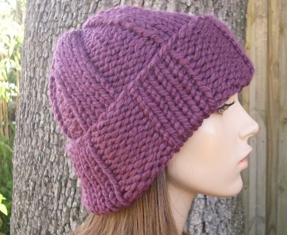 Knit Hat Purple Womens Hat - Watchman Cap Beanie in Fig Purple Knit Hat - Purple Hat Purple Beanie Womens Accessories Winter Hat