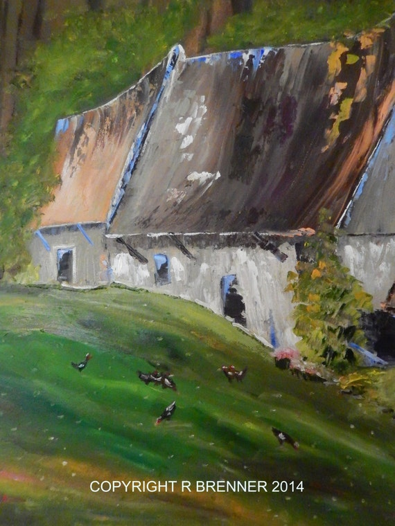 Chicken Painting, Large Painting, Green Painting, Country Cottage, Hen Chicken Painting, French cottages