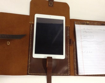 Legal Pad Portfolio Cover/Brown Leather Legal Pad Holder/Legal Assistant Gift