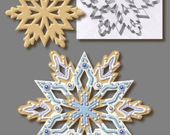 """7.5"""" Lg Snowflake Cookie Cutter w/ insert cutters cake fondant or pie top cutter Christmas Cookie Cutter Frozen cake"""