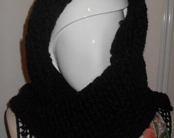 crocheted black snood
