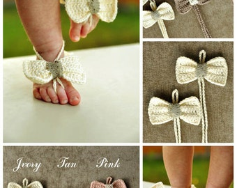 Baby Bow Barefoot Sandals, Crochet Baby Barefoot Sandals, Beach Pool Anklet, Lace Sandals, Foot accessories, Baby gift, Your choice of colo