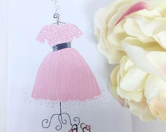 Note card + matching gift tag of pink retro dress and ballet shoes
