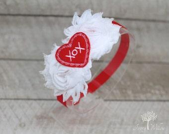 Valentines Day Headband - Heart Headband - Red and White Headband - Baby Headband -  Girl Headband - Adult Headband