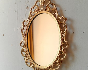 Gold Princess Mirror in Ornate Vintage Oval Frame 10 by 7 inches