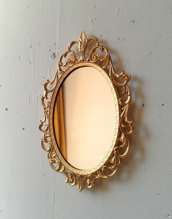 Gold Princess Mirror in Ornate Vintage Oval Frame 10 by 7