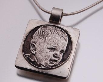 Custom Engraved Photo Pendant - small