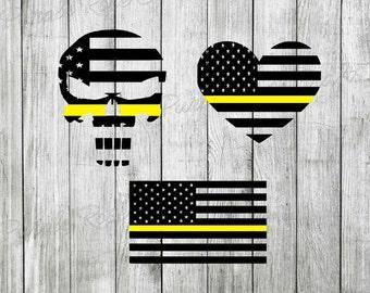 Thin Yellow Line Disptach Dispatcher Flag Skull Heart Decal Set - Cling - Sticker - Window - Cup - Tablet - Computer - Laptop - Tumbler