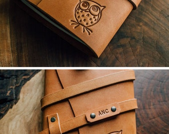 SALE 50% OFF Today...Owl Leather Journal...Fire-Branded Refillable Notebook...Hand Made in Portland, Oregon