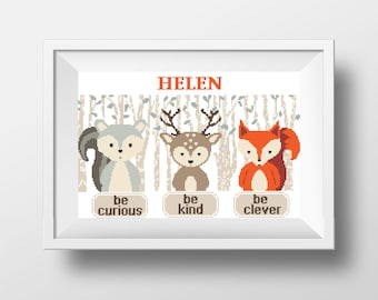Baby Cross Stitch Printable PDF Pattern Animals Fox Deer Baby Shower Gift Cute Easy Woodland Animals  DIY Gift Be clever Be kind Be curious