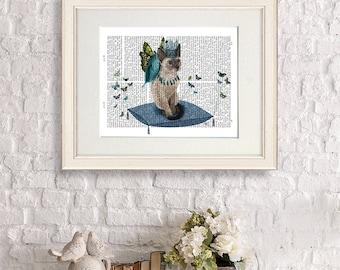 Cat art print - grey cat on pillow with flying butterflies - Nursery Art for Kids Room Décor cat decor blue art for girls room Baby Room