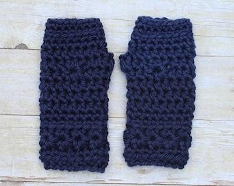 Navy Blue Gloves, Blue Fingerless Gloves, Navy Blue Mittens, Crochet Mittens, Blue Crochet Mittens, Navy Blue Wristwarmers, THE STARLING