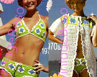 DIGITAL Pattern • EASY and QUICK to Make • Bikini Crochet Pattern + Granny Square CoverUp Jacket Pattern • 1970s Vintage • Boho Summer Top