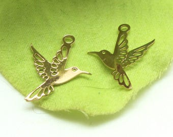 4 charms Hummingbird, bird, filigree, gold, 16 * 13 mm
