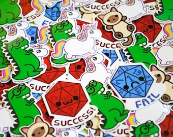 Kawaii Sticker Pack: Choose Five Weatherproof Vinyl Stickers, Dorky Dino, Chubby Unicorn, Siamese Cat, Critical Success Happy D20, Fail Dice