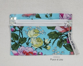 transparent pouch floral on blue sky background