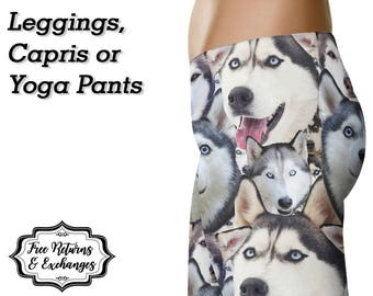 Husky Leggings / Yoga Leggings / Pants / Printed Leggings / Siberian Husky / Womens Clothing / Dog Mom / Workout Leggings / Gift for Her