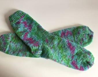 "Hand Knit Soft And Warm Women's Pure Wool Socks Size 8 - 8.5 (9.5"" length), Knitted Blue, Green & Pink Wool Socks, Boot Socks, Leg Warmers"