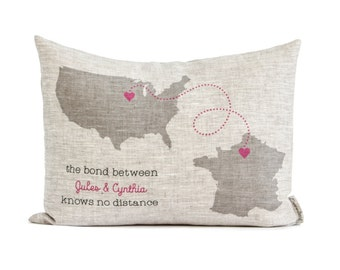 Personalized Long Distance Friends Gift, Sister Gift, Linen Anniversary, Map Pillow, Gift For Him, Gift for Her