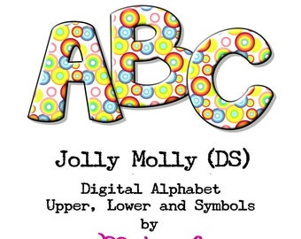 Digital Alphabet - Jolly Molly Drop Shadow - Upper, Lower, Numbers & Symbols