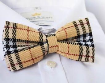 Beige Tartan Bow Tie
