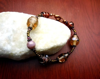 Pink Foiled Glass and Copper Bracelet - Size Small
