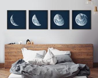 Moon phases, Framed art set, Moon phases posters, Moon prints, Moon art, Astronomy print, Nautical decor, Large framed art, Moon phase