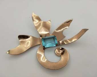 Copper Brooch large and signed Handmade Aquamarine color stone